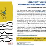 'LITERATURA Y LOCURA: CINCO MANERAS DE NOMBRAR LA AUSENCIA'